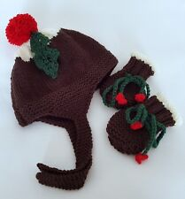 Knitting Pattern DK 75 TO KNIT Baby Christmas Pudding Hat & Mittens in 3 Sizes
