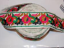 flower multicolour embroidered ribbon applique motif trimming trim decor dance