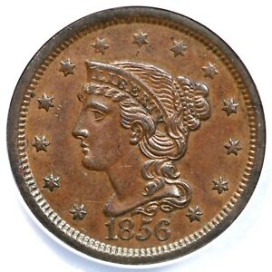 1856 N-2 ANACS AU 55 Slanted 5 Braided Hair Large Cent Coin 1c