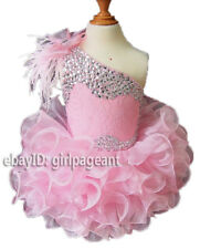 Infant/toddler/baby Pink Feather Lace Crystals Pageant Gliz Dress 2T G095-2