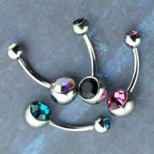 Titanium Bezel Set Double Gem Belly Ring Banana Barbell Navel Piercing Jewelry