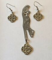 Celtic knot White Metal Earrings and Necklace pendant.