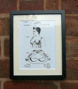 USA Patent Drawing vintage BREAST SUPPORTER BRA bedroom MOUNTED PRINT 1893 Xmas