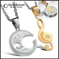 """Stainless Steel Couple Matching Music Note """"I Love You"""" Pendant Necklace Chain"""