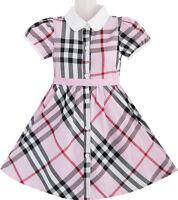 Sunny Fashion Girls Dress Pink Summer Back School White Collar Age 4-10
