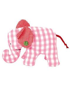 KÄTHE KRUSE Mini Elefant Vichykaro rosa  Greifen / Spielen / Rassel  NEU