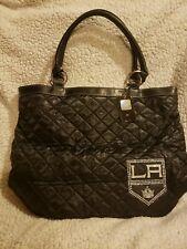 New NHL Los Angeles Kings Quilted Tote Bag  Black Rhinestones Hockey Handbag