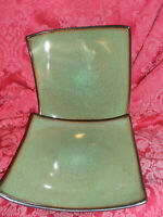 2 GABBY FUSION WASABI SALAD PLATES, BROWN SPECKLES, BLACK BACK, MORE AVAILABLE