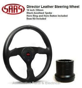 """Holden VK Commodore SAAS Director Leather 14""""  Steering Wheel & Boss Kit Combo"""