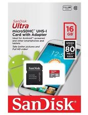 SanDisk 16GB Ultra SDHC 80MB/s Class 10 UHS-I Micro SD Memory Card + Adapter