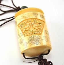 Vintage Bone Love Bird Inro Netsuke Box Hanging Charm Case Storage Pouch 2 layer