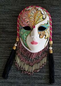 Vintage Original Clay Art Face Ceramic Wall Mask with gorgeous beading *EUC
