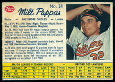 1962 POST BASEBALL CANADIAN #34 MILT PAPPAS EX+ COND BALTIMORE ORIOLES card