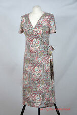 P329/40 East Sexy Jersey Multicolor Floral Wrap Dress, size UK 8