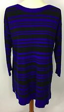 Cable & Gauge Black Blue Striped 3/4 Sleeve Sweater Tunic Size XL New