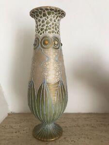 Rare Amphora Teplitz Dachsel Klimt Bijoux Vase XXL