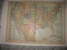 ANTIQUE 1900 UNITED STATES DATED MAP INDIAN TERRITORY TEXAS CALIFORNIA FLORIDA
