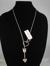 Betsey Johnson Gold HEARTS AND ARROWS Pave' Heart Arrow Lariat Necklace $52