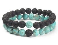 8mm  Volcanic rocks Turquoise Bracelet Reiki cuff energy 7.5inches Sutra mala