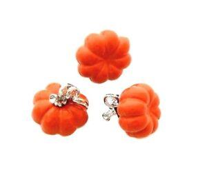 4 Silver 3D Vine Orange Pumpkin 11mm Autumn Thanksgiving Day Bead Drop Charms