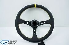 350mm  Steering Wheel LEATHER YELLOW Stitching 97mm DEEP Dish