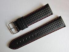Uhrenarmband sportliches Carbon-Design, Echtes Leder, schwarz, 22 mm, NEU