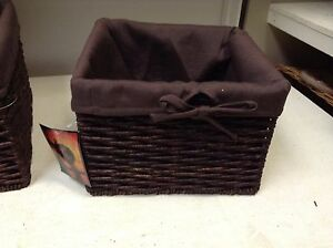 Jute Seagrass Woven Storage Decor Square Basket Liner Dark Brown MEDIUM 12x8