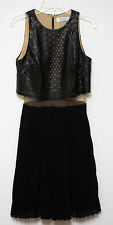 NWT BAILEY 44 WOMENS LEATHER CUT OUT PLEATED ILLUSION WAIST DRESS BLACK XS $285
