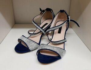 Quiz Midnight Blue Navy Suede Diamante Evening Shoes Size 3