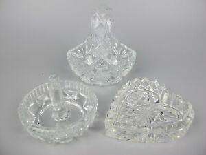 Vintage cut crystal glass Dressing Table Vanity Lot: Basket, Ring Holder & Tray