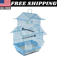 Bird Cage House Style Starter Kit Swing Perch Feeder 2 Story Carry Handle Small