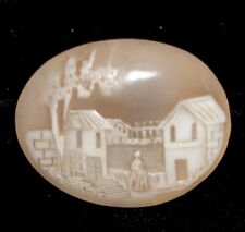 "Antique Vintage Large Oval Shell Cameo Stone HOUSE Scene 1 5/8"""" x 1 1/4""  #AA38"