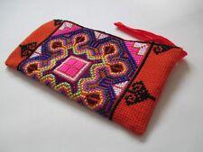 Orange Handmade Crosstitch Trible Makeup Pencil Case Pouch Wrist Clutch Bag
