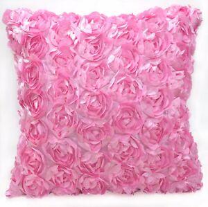 Sa212a Pink 3D Rose Flower Taffeta Satin Cushion Cover/Pillow Case*Custom Size*