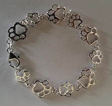 Sterling Silver Bracelet Paw Print Bracelet