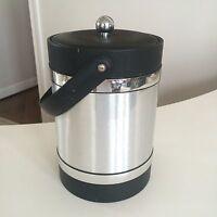 """Vintage 1970s Black & Silver Retro Ice Bucket Cooler w Lid & Handle ~11"""" NICE"""