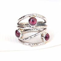925 Sterling Silver Red Garnet Ring Unique Handmade Solitaire Garnet Ring-S161