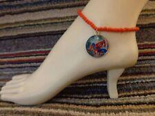 SPIDERMAN enamel charm ankle bracelet beads anklet stretchy handmade