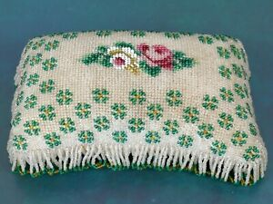 Stunning Antique Beaded Pin Cushion - A Very Fine Example - Sewing       |81