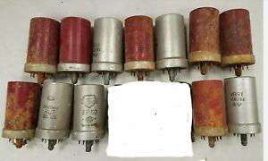 12 x assorted vintage radio valves, metal covered. Art, display etc (untested)
