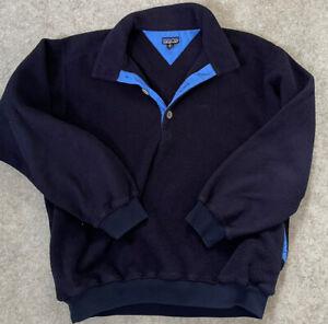 Mens XL Unusual Vintage Patagonia Fleece Pullover Jumper 1/4 Button Collar Blue