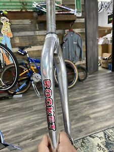 "Rocket Brand  1 1/8 threadless  20"" Forks Rare Old Mid School Race Bmx Fork"