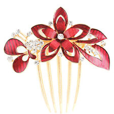 Red Floral Flowers Hair Decoration Gold Hair Comb Evening Prom Wedding Birdal