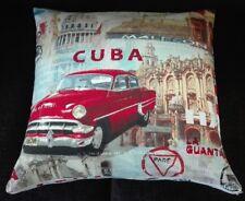 Kissenbezug Kissenhülle 50x50 cm Kuba Oldtimer Auto Dekokissen Handarbeit