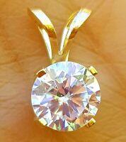1.00ct Genuine VS Lab Diamond Coated Solid 14K Yellow Gold Pendant Sparkles