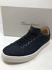 $595 New Santoni Mens Blue Shoes Size 10.5 US 9.5 UK 43.5 EU