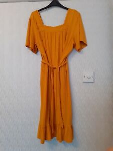 Next Mustard Yellow Gypsy Midi Dress With Belt Size 18 with Embroidered Neckline