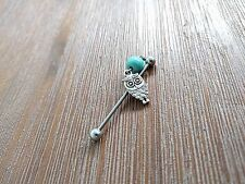 Owl Industrial Bar Stainless Steel Bohemian Style Barbell with Blue Stone