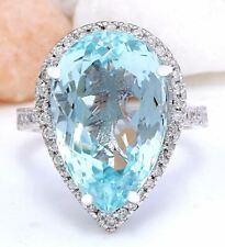 12.49 Carat Natural Aquamarine 14K Solid White Gold Diamond Ring