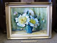 Vintage Flowers Still life oil painting Heather Craigmile Framed Welsh art